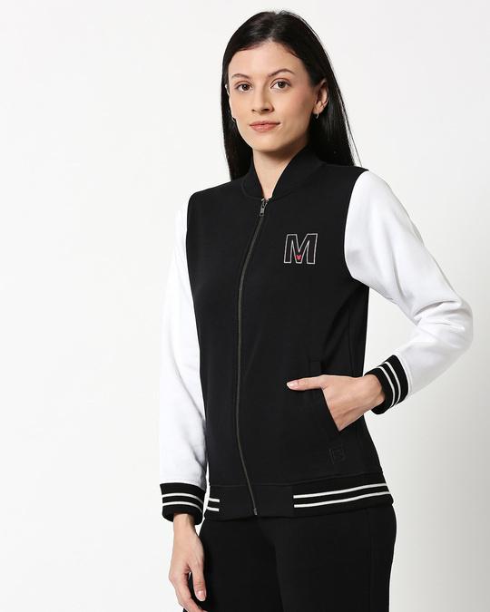 Shop Mickey M Badge Varsity Bomber Jacket-Back