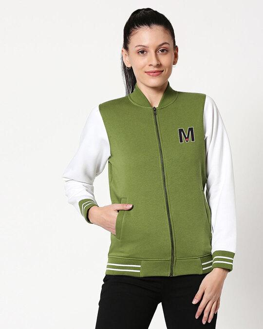 Shop Mickey M Badge Varsity Bomber Jacket-Front