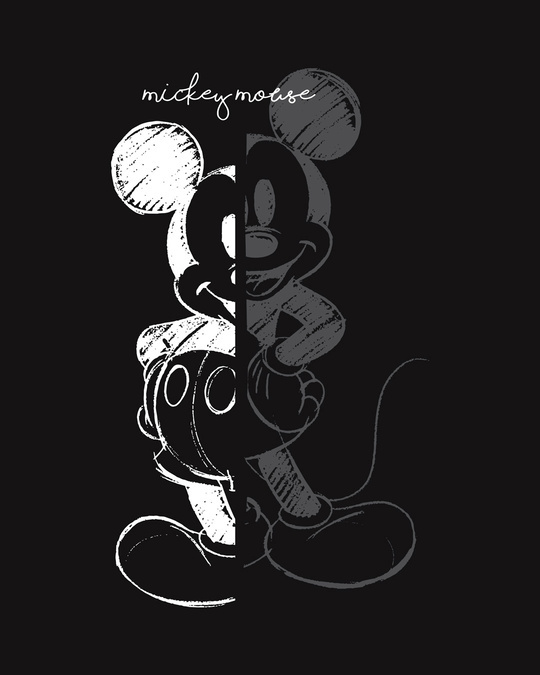 Shop Mickey Mouse Sketch Half Sleeve T-Shirt (DL)-Full