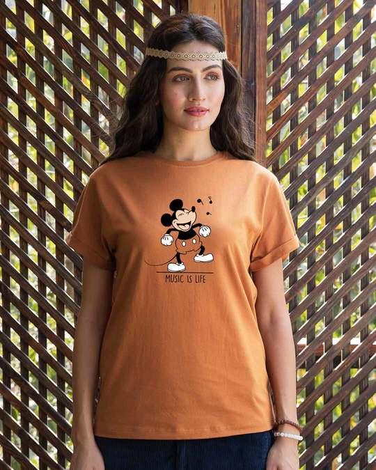 Shop Mickey Music Boyfriend T-Shirt (DL)-Front
