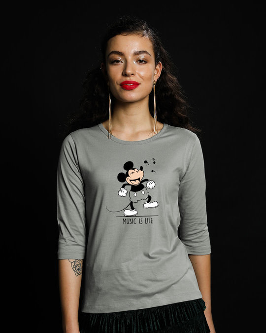 Shop Mickey Music Round Neck 3/4th Sleeve T-Shirt (DL)-Front