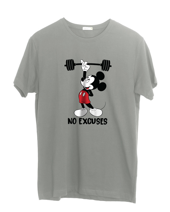 Shop Mickey No Excuses Half Sleeve T-Shirt (DL)-Front