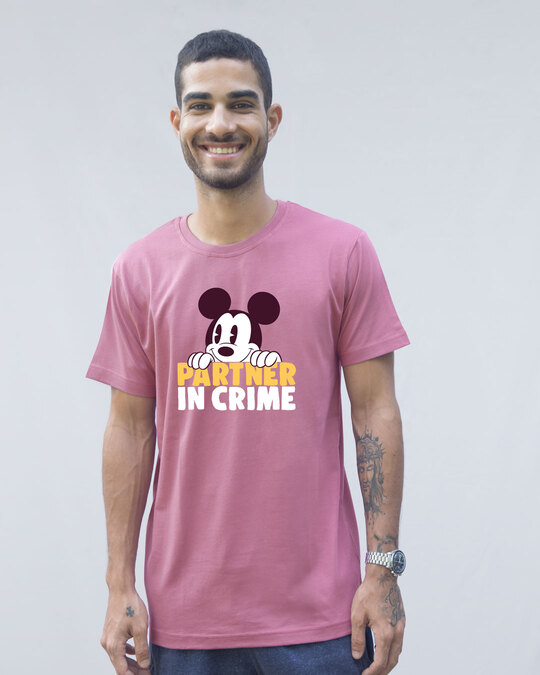 Shop Mickey Partner In Crime Half Sleeve T-Shirt (DL)-Front