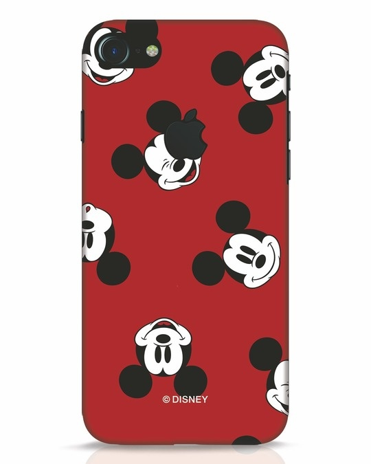 Shop Mickey Pattern iPhone 7 Logo Cut Mobile Cover-Front