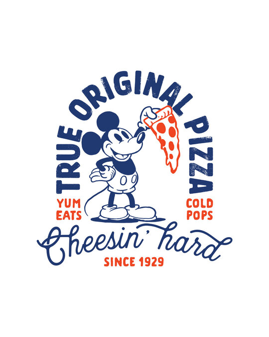 Shop Mickey Pizza Half Sleeve Raglan T-Shirt (DL) White-Black
