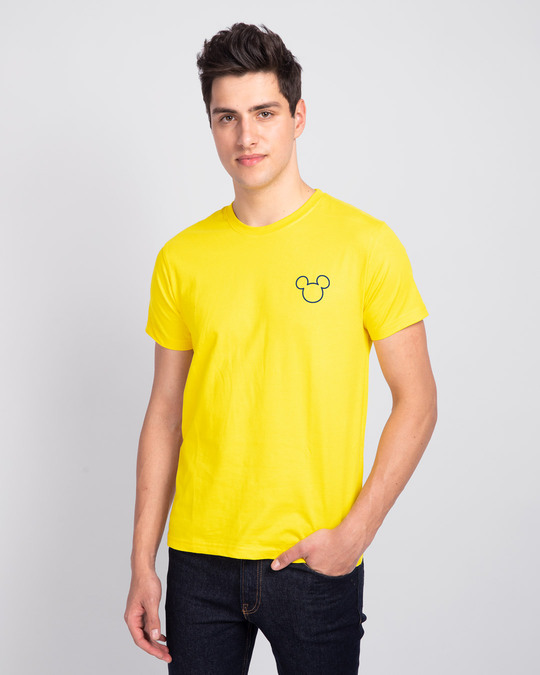 Shop Mickey Pizza Half Sleeve T-Shirt (DL) Pineapple Yellow-Back