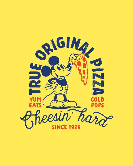 Shop Mickey Pizza Half Sleeve T-Shirt (DL) Pineapple Yellow