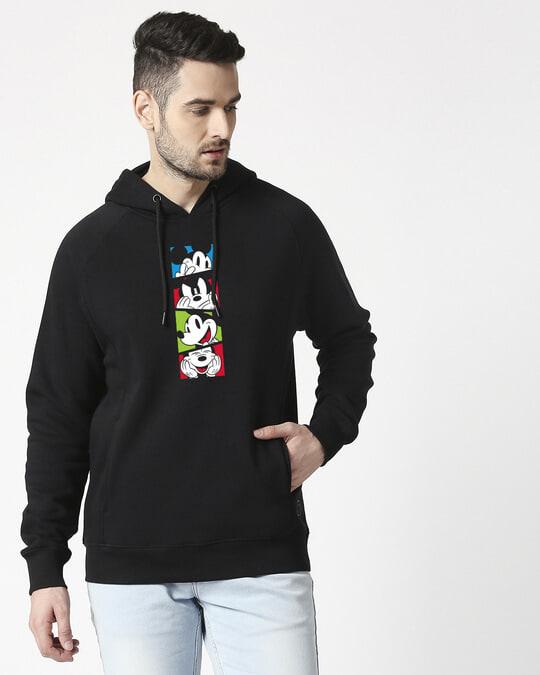 Shop Mickey Pop Block Cut & Sew Hoodie Sweatshirt-Front