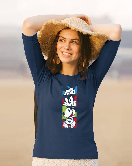 Shop Mickey Pop Block Round Neck 3/4 Sleeve T-Shirts (DL) Navy Blue-Front