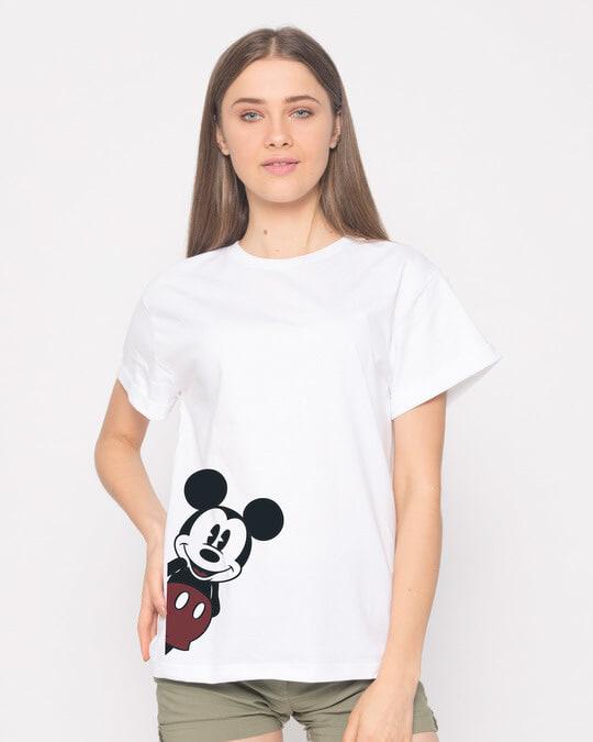 Shop Mickey Says Hi Boyfriend T-Shirt (DL)-Front