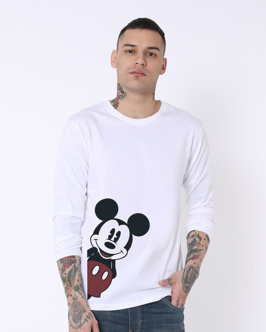 Shop Mickey Says Hi Full Sleeve T-Shirt (DL)-Front