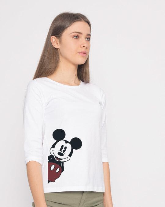 Shop Mickey Says Hi Round Neck 3/4th Sleeve T-Shirt (DL)-Back