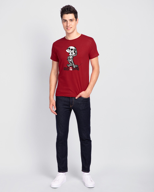 Shop Mickey Skeleton Half Sleeve T-Shirt (GID) (DL)-Full