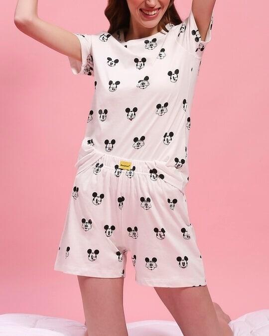 Shop Women's Printed T-shirt & Shorts Night Suit-Front