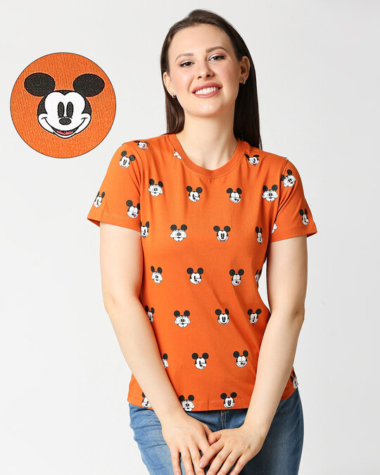 Shop Mickey All Over Printed Half Sleeves T-shirt-Front
