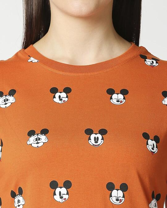 Shop Mickey All Over Printed Half Sleeves T-shirt