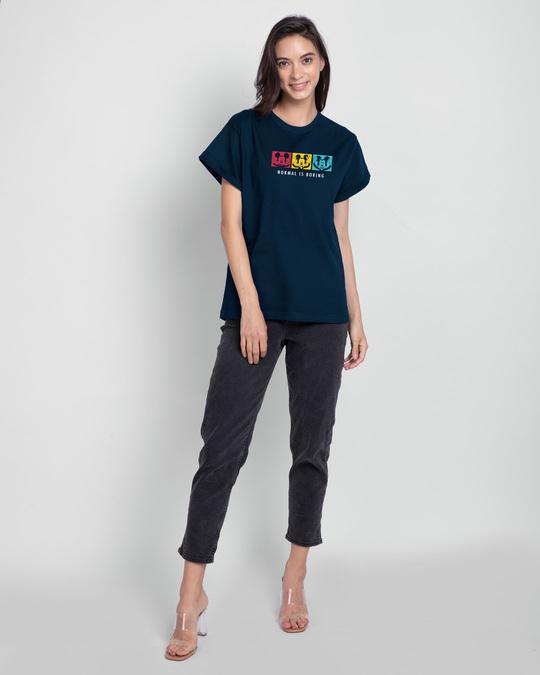 Shop Mickey Strip Color Boyfriend T-Shirts (DL) Navy Blue