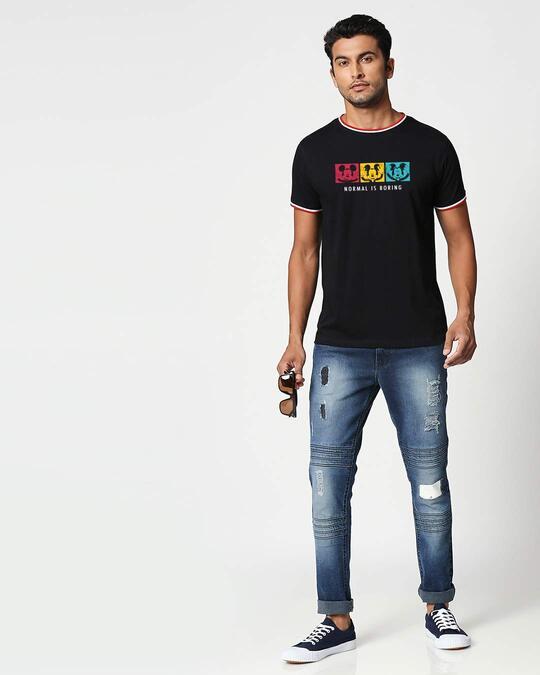 Shop Mickey Strip Color Crewneck Varsity Rib H/S T-Shirt (DL) Multicolor-Design