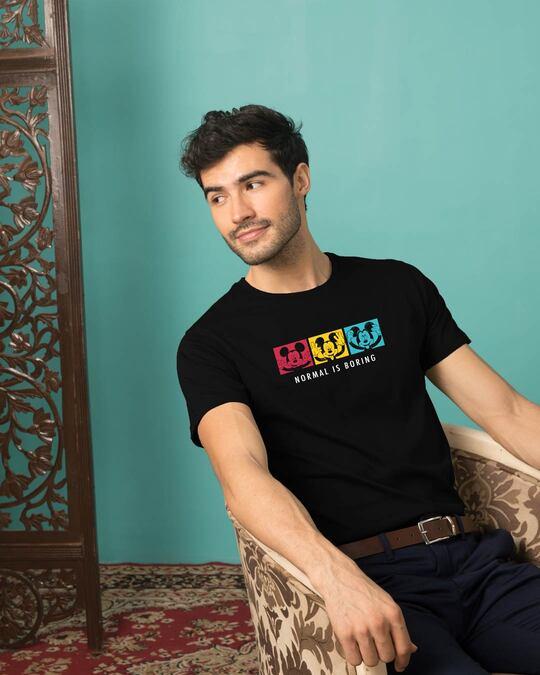 Shop Mickey Strip Color Half Sleeve T-shirt (DL) Black-Front