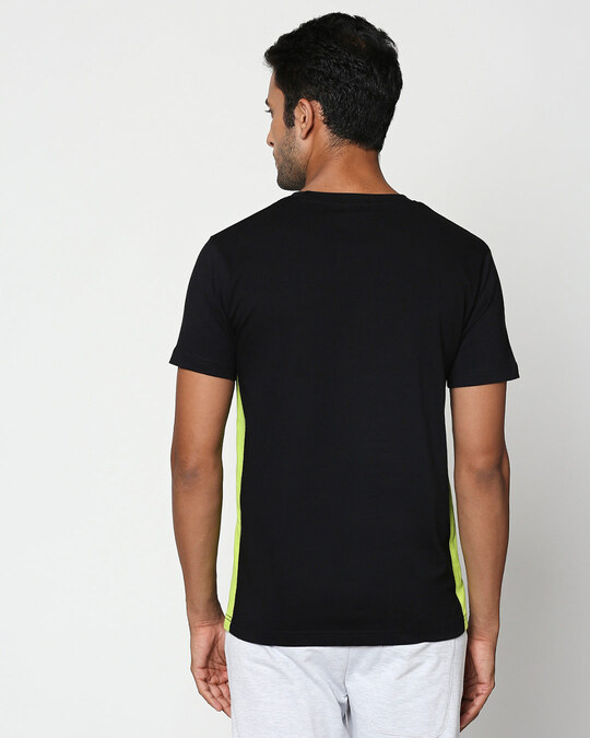 Shop Mickey Trio Call Contrast Side Seam Panel T-Shirt (DL) Black-Neon Green-Back