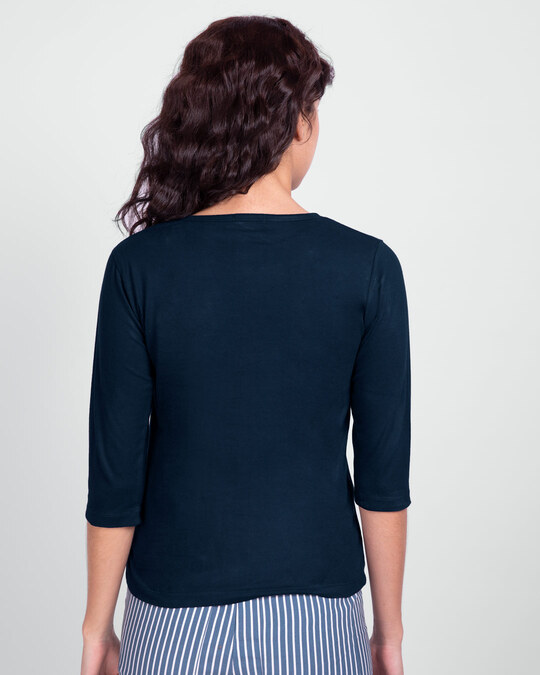 Shop Mickey Trio Call  Round Neck 3/4 Sleeve T-Shirts-Back