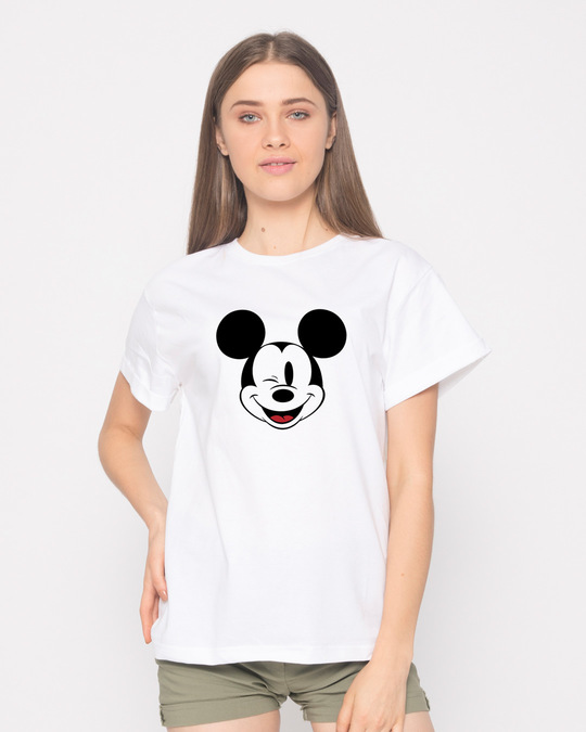 Shop Mickey Wink Boyfriend T-Shirt-Front