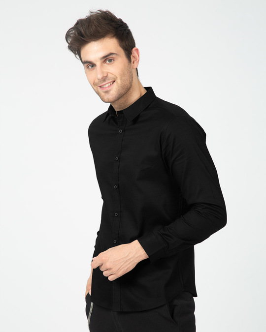 Shop Midnight Black Slim Fit Casual Shirts-Back