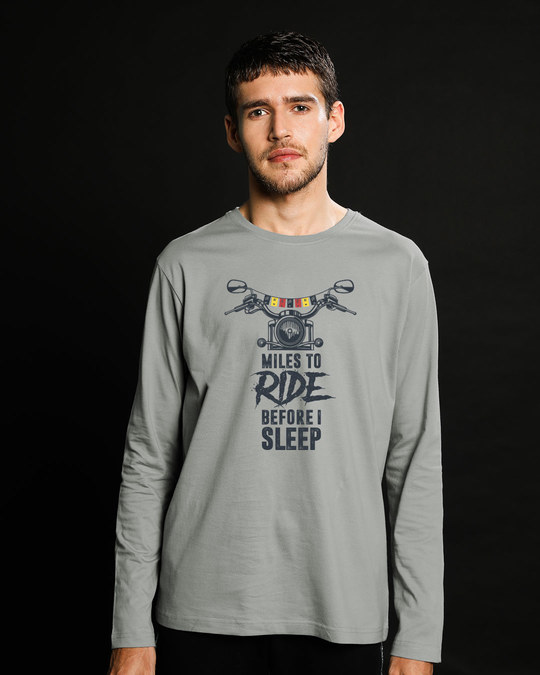 Shop Miles To Ride Full Sleeve T-Shirt-Front