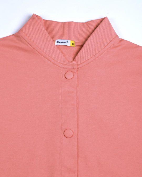 Shop Millennial Pink Buttoned Bomber Jacket