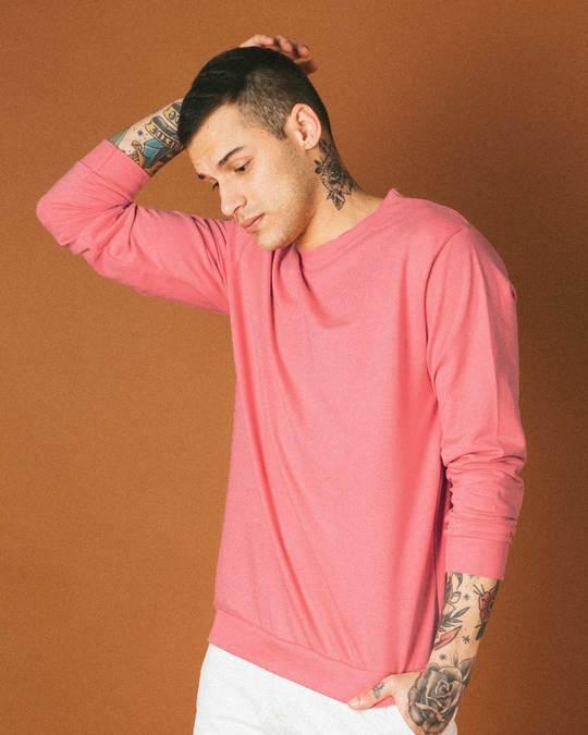 Shop Millennial Pink Crew Neck Sweatshirt-Front