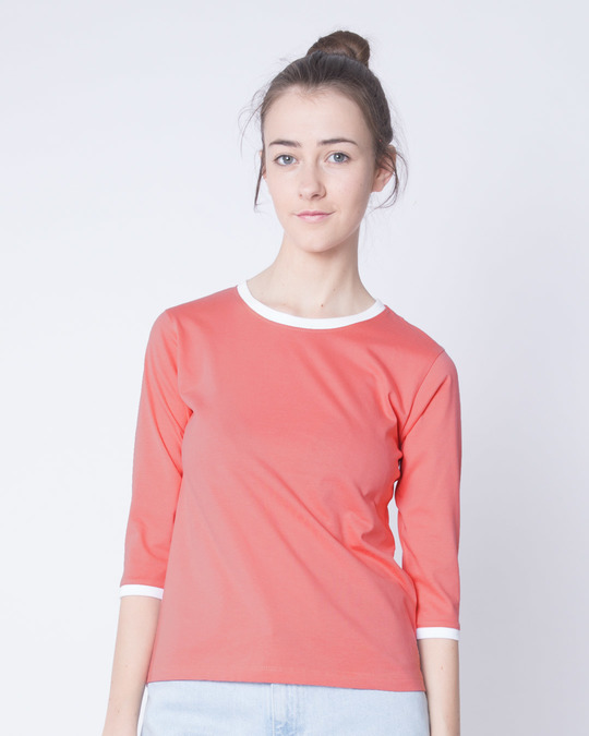 Shop Millennial Pink-White Ringer 3/4 Sleeve T-Shirts-Front
