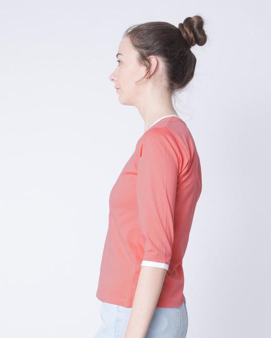 Shop Millennial Pink-White Ringer 3/4 Sleeve T-Shirts-Back