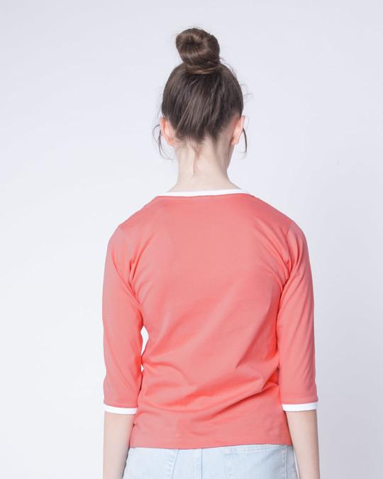Shop Millennial Pink-White Ringer 3/4 Sleeve T-Shirts-Full