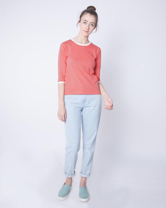 Shop Millennial Pink-White Ringer 3/4 Sleeve T-Shirts