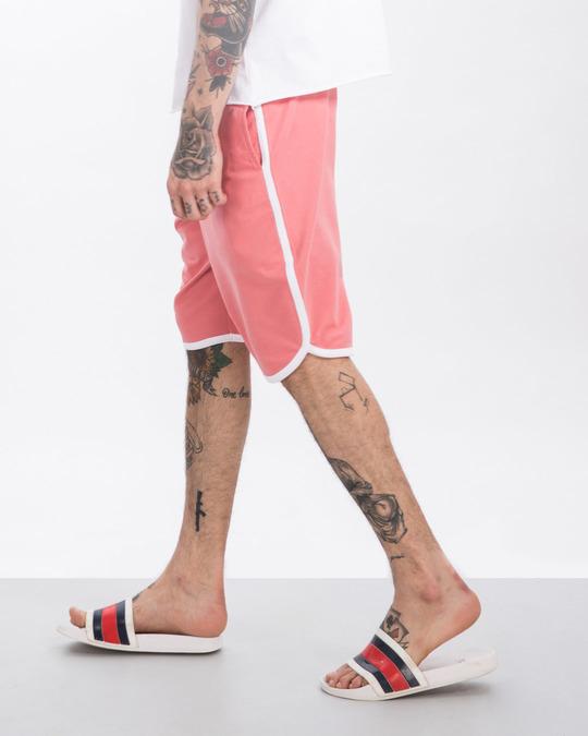 Shop Millennial Pink-White Runner Fleece Shorts-Back