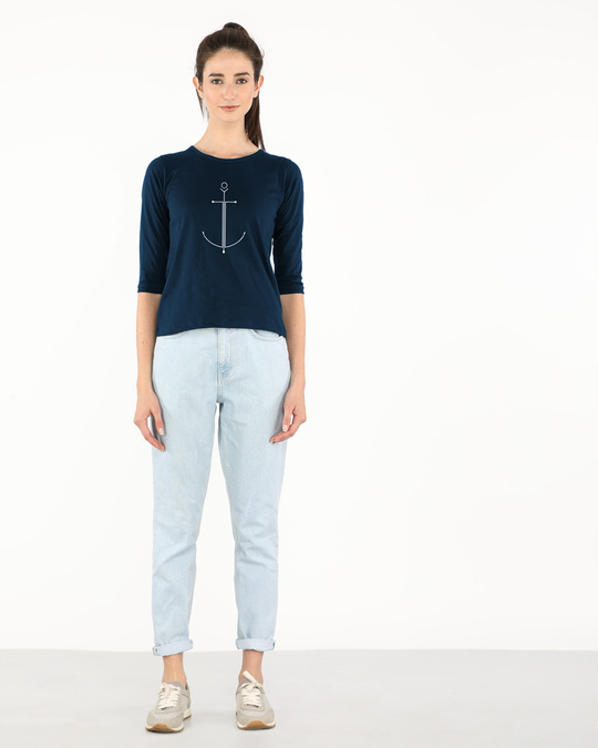 Shop Minimal Anchor Round Neck 3/4th Sleeve T-Shirt