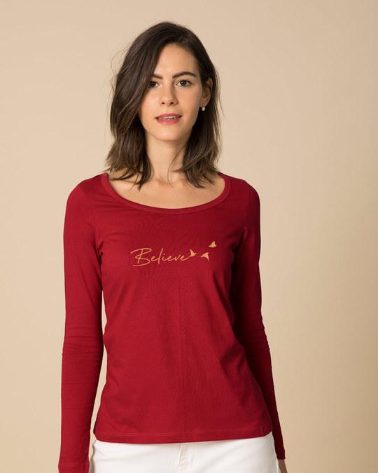 Shop Minimal Believe Scoop Neck Full Sleeve T-Shirt