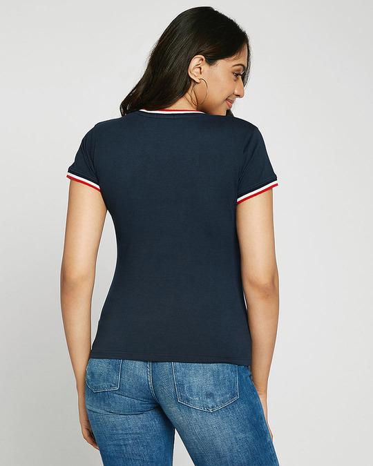 Shop Minimal Believe T-Shirt V neck Varsity Rib H/S T-shirt-Design