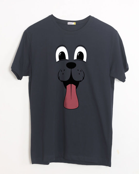 Shop Minimal Dog Face Half Sleeve T-Shirt-Front