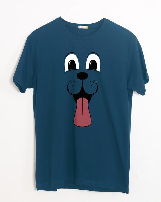 Shop Minimal Dog Face Half Sleeve T-Shirt-Front