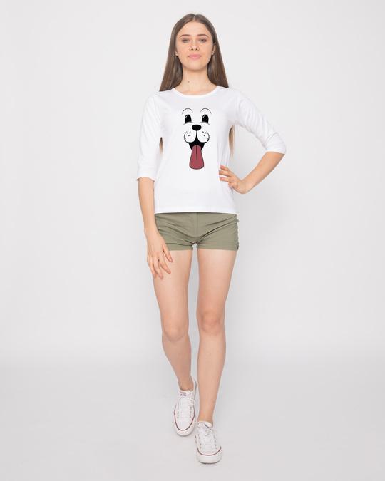 Shop Minimal Dog Face Round Neck 3/4th Sleeve T-Shirt