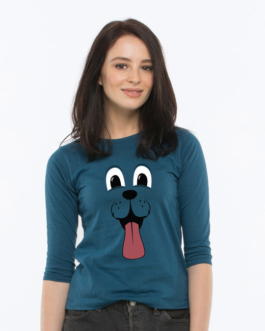Shop Minimal Dog Face Round Neck 3/4th Sleeve T-Shirt-Front