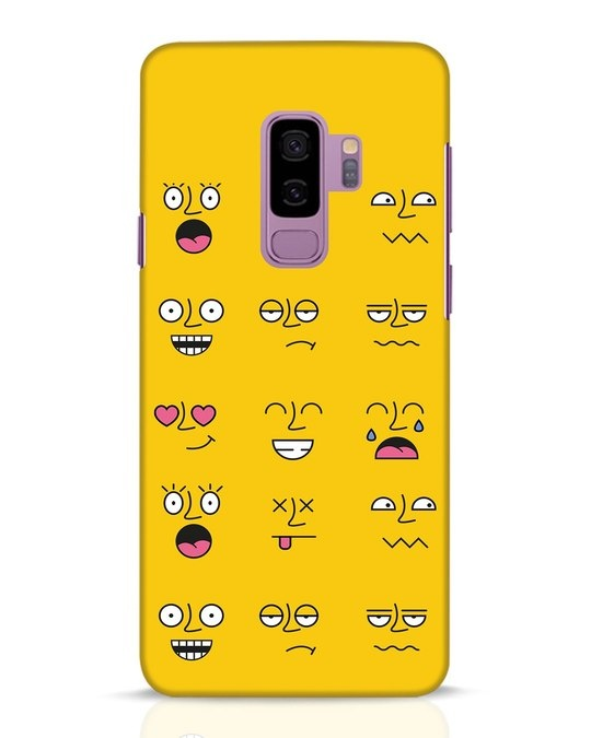 Shop Minimal Emoji Samsung Galaxy S9 Plus Mobile Cover-Front