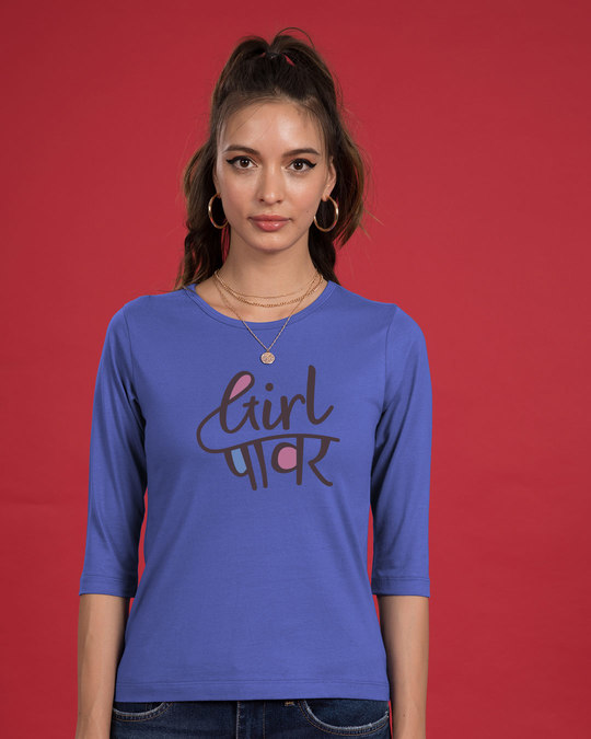 Shop Minimal Girl Power Round Neck 3/4th Sleeve T-Shirt-Front