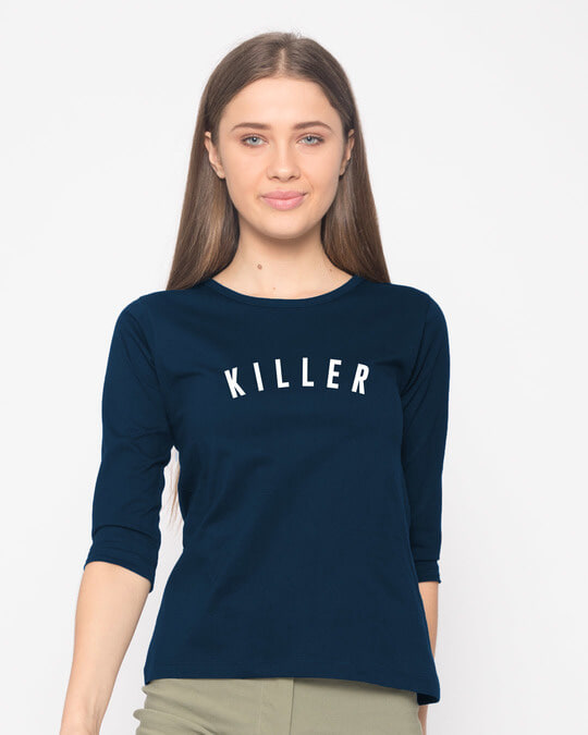 Shop Minimal Killer Round Neck 3/4th Sleeve T-Shirt-Front