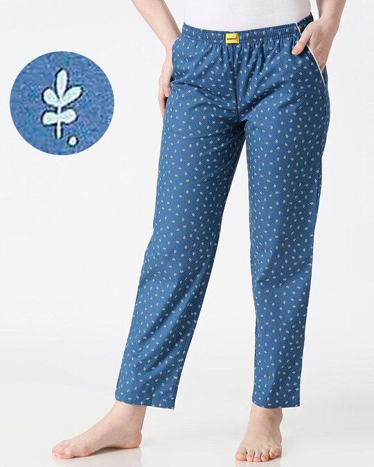 Shop Minimal Leaves All Over Printed Pyjama-Front
