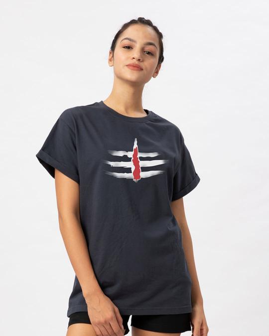 Shop Minimal Mahakal Boyfriend T-Shirt-Back