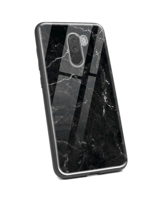 Shop Minimal Marble Xiaomi POCO F1 Glass Mobile Cover-Back