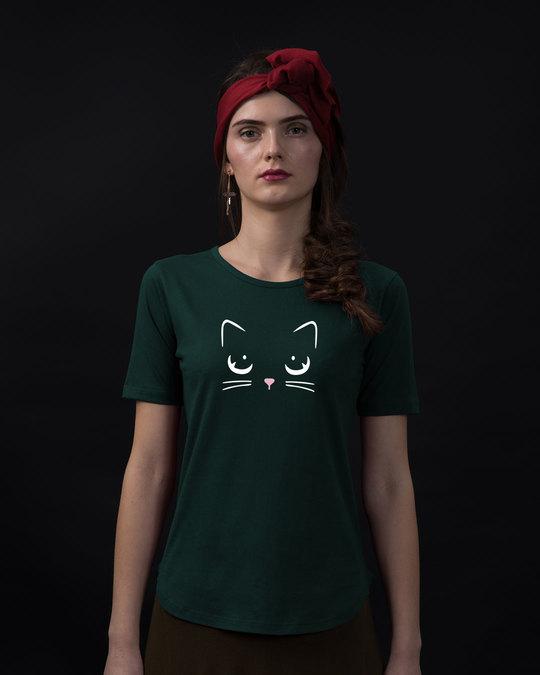 Shop Minimal Meow Basic Round Hem T-Shirt-Front