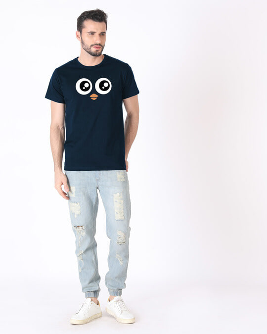 Shop Minimal Penguin Half Sleeve T-Shirt